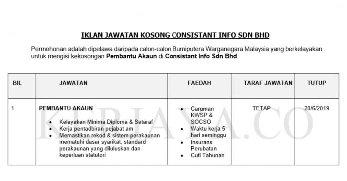 Consistant Info ~ Pembantu Akaun