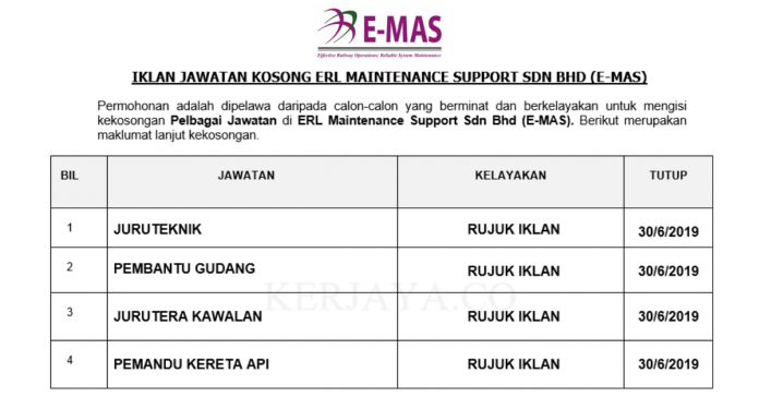 ERL Maintenance Support ~ Juruteknik, Pembantu Gudang, Jurutera & Pemandu Kereta api