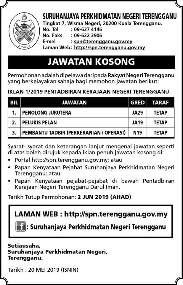 Iklan Jawatan Kosong Spn Terengganu Kerja Kosong Kerajaan