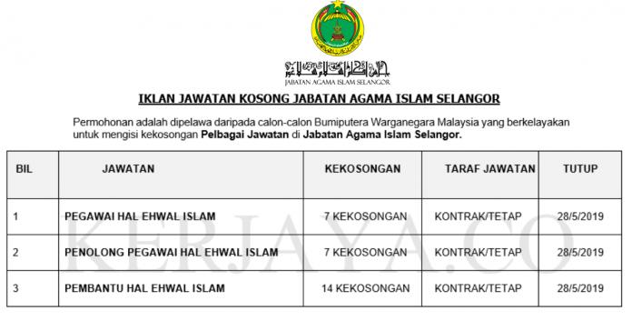 Jabatan Agama Islam Selangor ~ Pegawai Hal Ehwal Islam, Pen. Pegawai Hal Ehwal Islam & Pembantu Hal Ehwal Islam