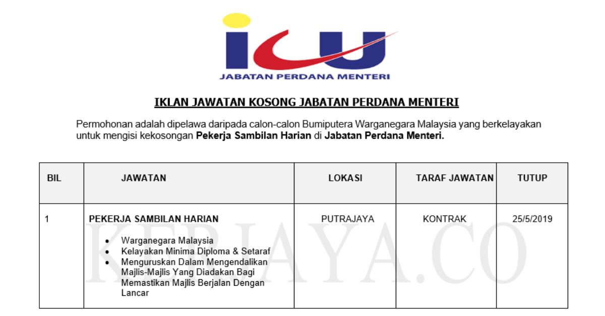 Jawatan Kosong Terkini Jabatan Perdana Menteri Kerja Kosong Kerajaan Swasta