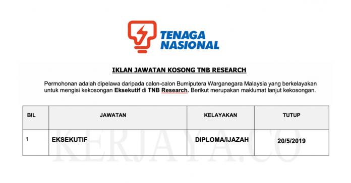 Jawatan Kosong Eksekutif TNB Research