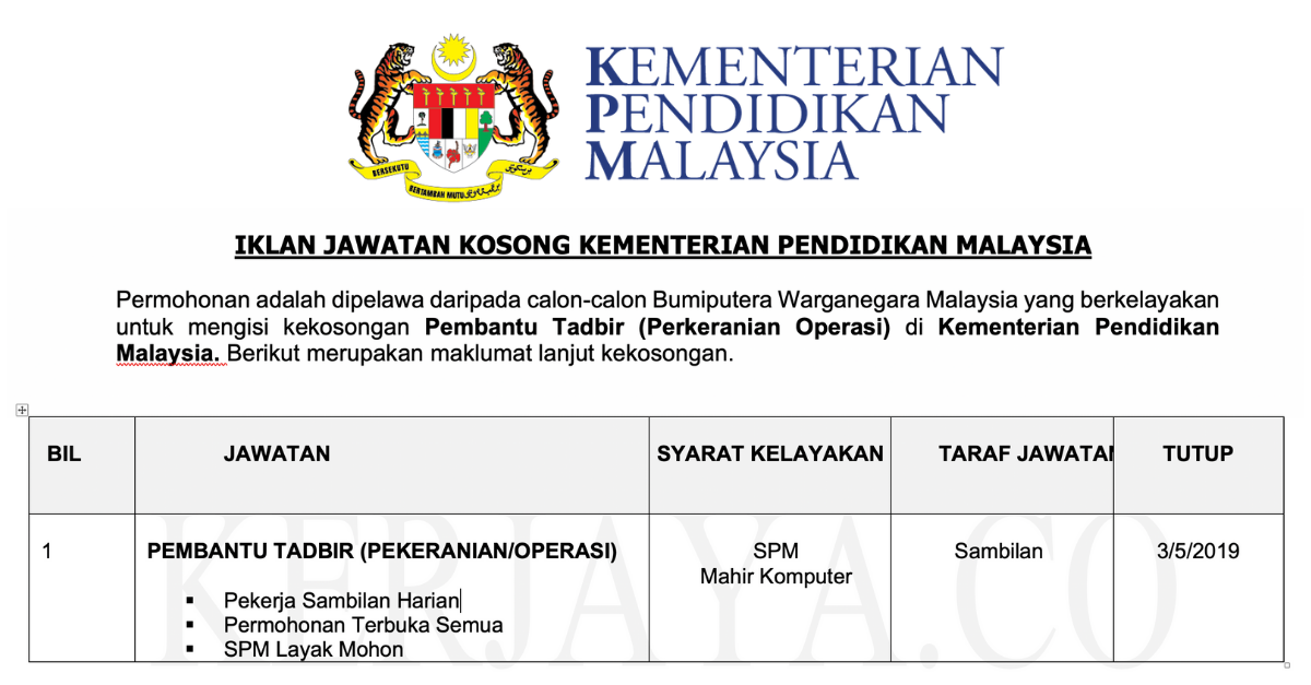 Jawatan Kosong Pembantu Tadbir Perkeranian Operasi Kementerian Pendidikan Malaysia Kerja Kosong Kerajaan