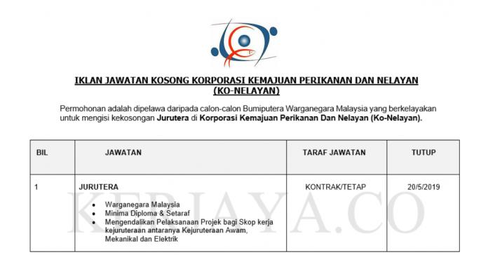 Korporasi Kemajuan Perikanan Dan Nelayan Sabah (Ko-Nelayan) ~ Jurutera