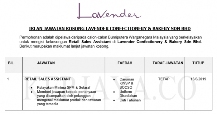 Lavender Confectionery & Bakery ~ Retail Sales Assistant