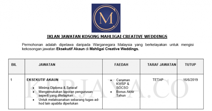 Mahligai Creative Weddings ~ Eksekutif Akaun