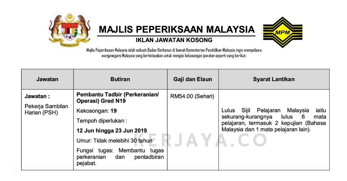 Jawatan Kosong Terkini Pembantu Tadbir Perkeranian Operasi Gred N19 Di Majlis Peperiksaan Malaysia Mpm Kerja Kosong Kerajaan Swasta