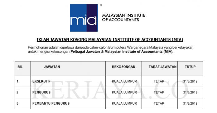 Malaysian Institute of Accountants (MIA) ~ Eksekutif, Pengurus, Pembantu Pengurus