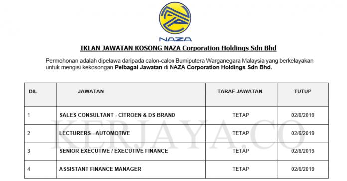 NAZA Corporation Holdings ~ Pelbagai Jawatan