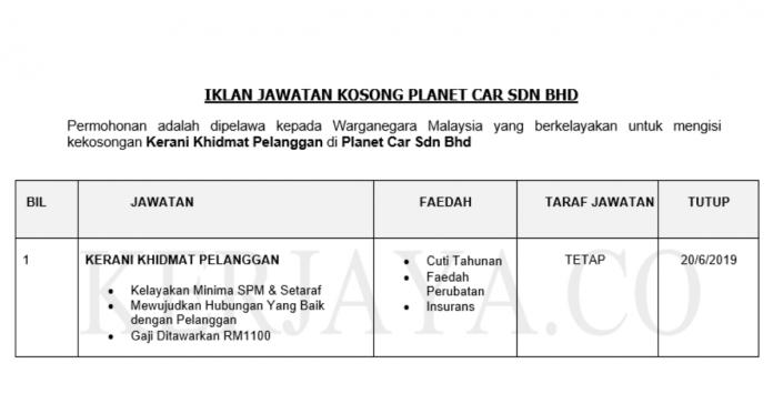 Planet Car ~ Kerani Khidmat Pelanggan