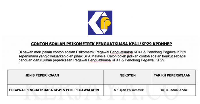 Rujukan Contoh Soalan Psikometrik Pegawai Penguatkuasa KP41 & Penolong Pegawai KP29