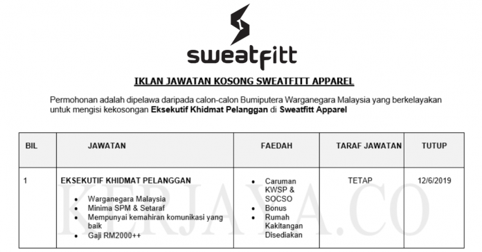 Sweatfitt Apparel ~ Eksekutif Khidmat Pelanggan