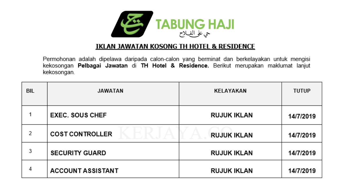 Jawatan Kosong Terkini Tabung Haji Hotel Residence Kekosongan Baru Pelbagai Jawatan Kerja Kosong Kerajaan Swasta