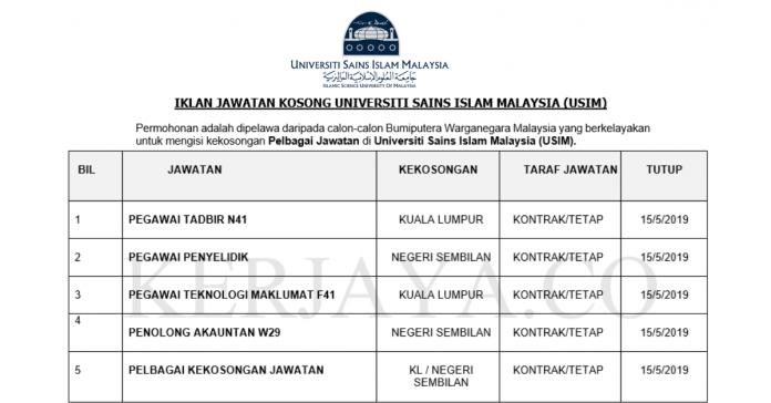 Universiti Sains Islam Malaysia (USIM) ~ Pegawai Tadbir,Pegawai Penyelidik ,Penolong Pegawai Penerbitan & Pelbagai Jawatan Lain