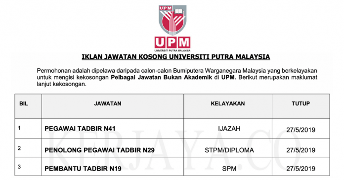 Universiti Putra Malaysia (UPM) ~ Kekosongan Jawatan Bukan Akademik 2019