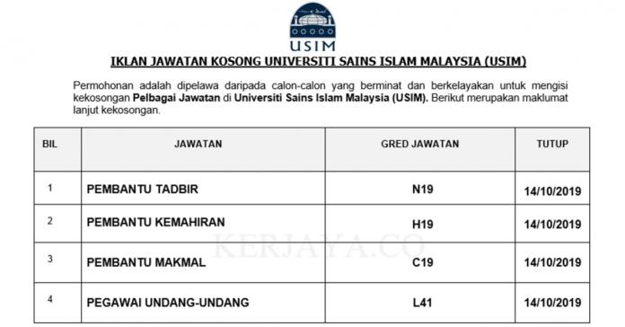 Universiti Sains Islam Malaysia (USIM) ~ Pembantu Tadbir, Pembantu Kemahiran, Pembantu Makmal & Pelbagai Jawatan Lain