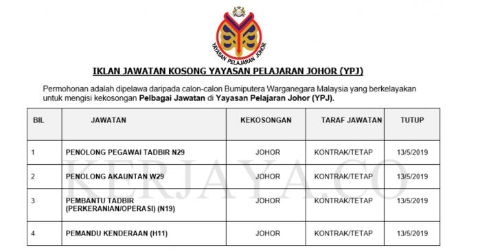 Yayasan Pelajaran Johor (YPJ) ~ Penolong Pegawai Tadbir, Penolong Akauntan, Pembantu Tadbir