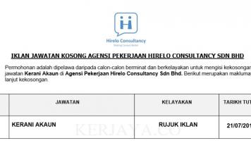 Agensi Pekerjaan Hirelo Consultancy ~ Kerani Akaun