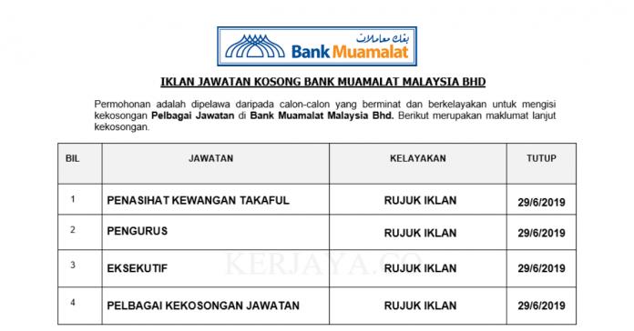Bank Muamalat Malaysia ~ Penasihat Kewangan Takaful, Eksekutif & Pelbagai Jawatan Lain