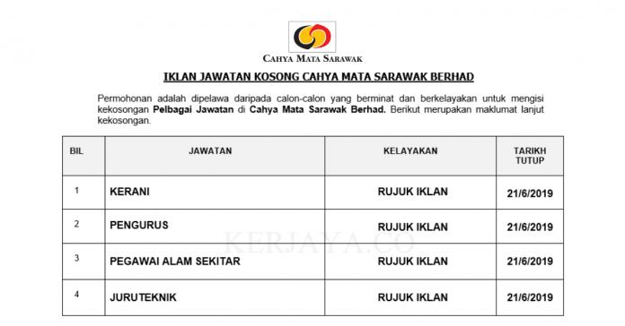 Cahya Mata Sarawak Berhad ~ Kerani, Juruteknik, Pegawai Alam Sekitar & DLL