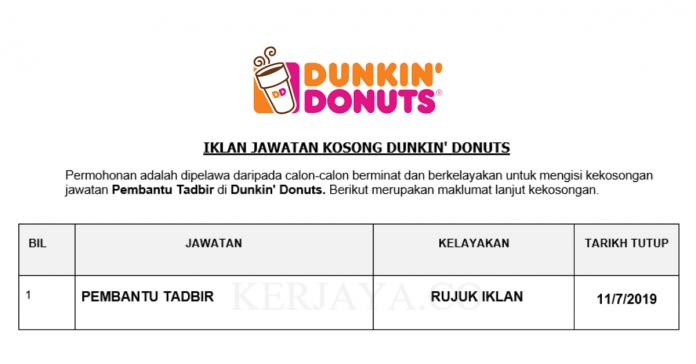 Dunkin' Donuts ~ Pembantu Tadbir