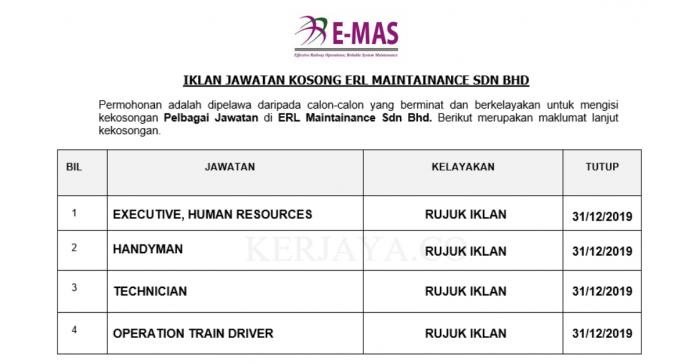 ERL Maintenance Support ~ Executive , Human Resources, Operation Train Driver & Pelbagai Jawatan Lain
