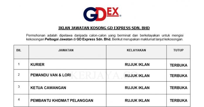 GD Express ~ Kurier, Pemandu Van & Lori, Ketua Cawangan, Pembantu Khdimat Pelanggan &DLL