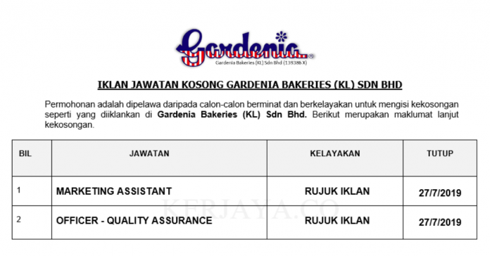 Gardenia Bakeries ~ Marketing Assistant & Officer - Quality Assurance