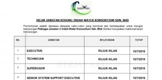 Indah Water Konsortium ~ Eksekutif , Supervisor & DLL Jawatan