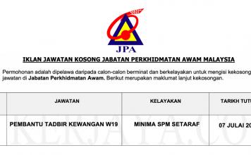 Jawatan Kosong Jabatan Perkhidmatan Awam Malaysia (JPA)