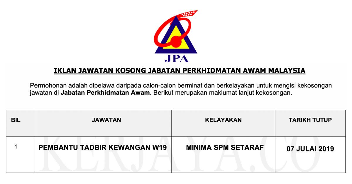 Iklan Jawatan Pembantu Tadbir Taraf Spm Jabatan Perkhidmatan Awam Malaysia Jpa Malaysia 2019