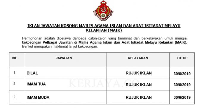 Majlis Agama Islam dan Adat Istiadat Melayu Kelantan (MAIK) ~ Bilal, Imam Tua & Imam Muda