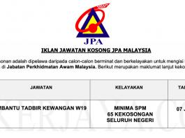 Jawatan Kosong Pembantu Tadbir Kewangan Jabatan Perkhidmatan Awam (JPA)