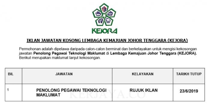 Lembaga Kemajuan Johor Tenggara (KEJORA) ~ Penolong Pegawai Teknologi Maklumat