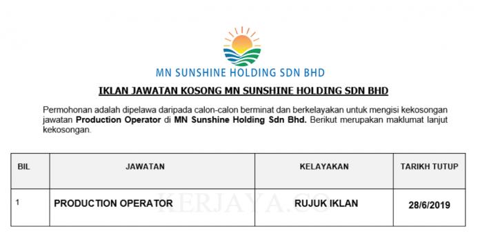 MN Sunshine Holding ~ Production Operator
