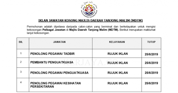 Majlis Daerah Tanjong Malim (MDTM) ~ Pentadbiran & Pengurusan