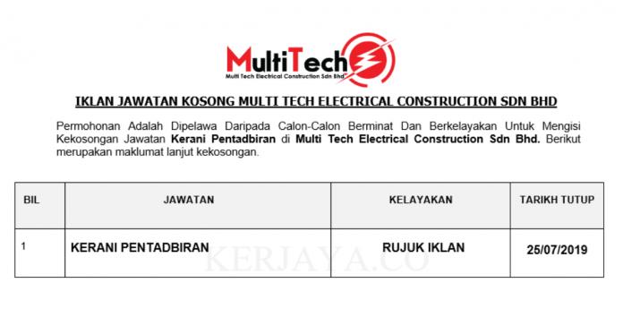 Multi Tech Electrical Construction ~ Kerani Pentadbiran