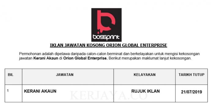 Orion Global Enterprise ~ Kerani Akaun