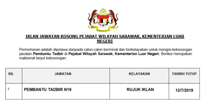 Pembantu Tadbir Pejabat Wilayah Sarawak, Kementerian Luar Negeri
