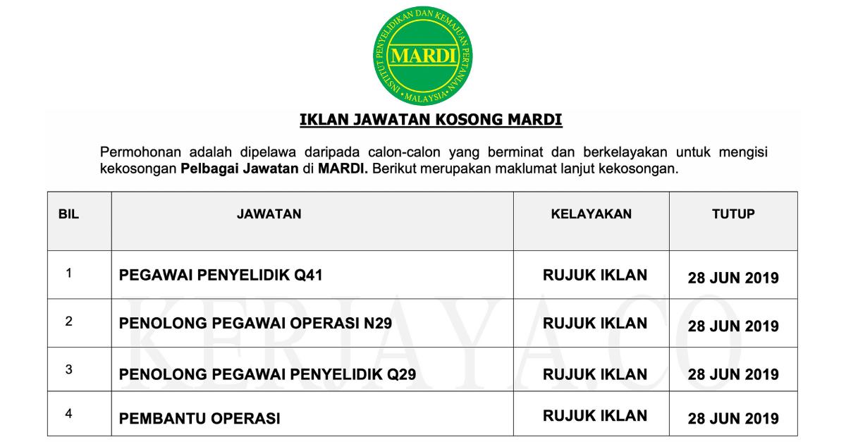 Iklan Jawatan Contract For Service Di Institut Kemajuan Penyelidikan Pertanian Malaysia Mardi