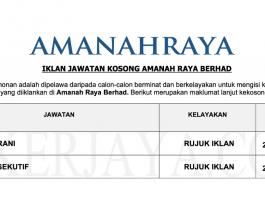 Permohonan Jawatan Kerani & Eksekutif di Amanah Raya Berhad (ARB) di Buka