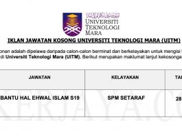 Permohonan Jawatan Kosong Terkini Universiti Teknologi MARA (UiTM)