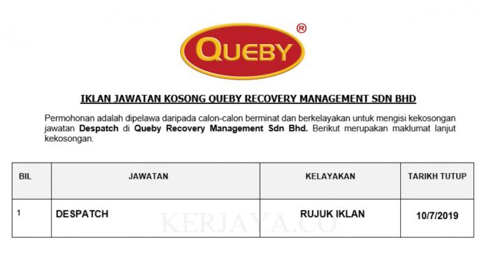 Queby Recovery Management ~ Despatch
