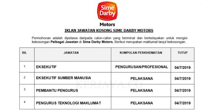 Sime Darby Motors ~ Eksekutif, Eksekutif Sumber Manusia, Pengurus Teknologi Maklumat & DLL