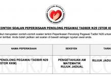 Soalan Peperiksaan Penolong Pegawai Tadbir Stor KKM N29