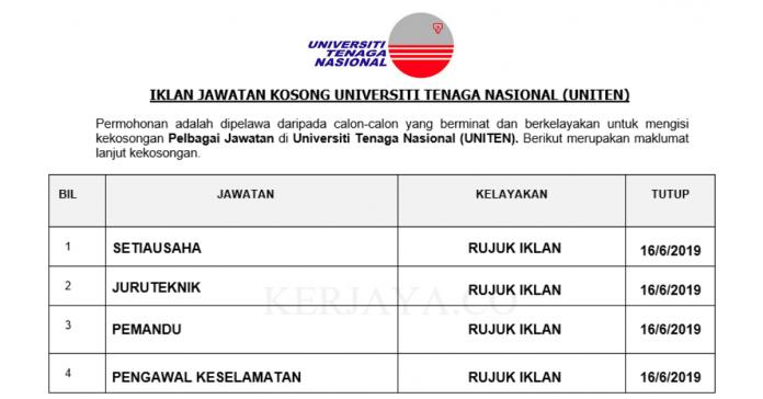 Universiti Tenaga Nasional (UNITEN) ~ Setiausaha, Juruteknik, Pemandu & Pengawal Keselamatan