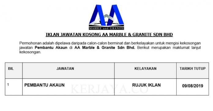 AA Marble & Granite ~ Pembantu Akaun