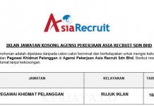 Agensi Pekerjaan Asia Recruit ~ Pegawai Khidmat Pelanggan