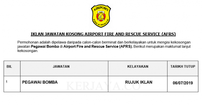 Airport Fire and Rescue Service (AFRS) ~ Pegawai Bomba