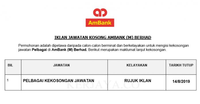 AmBank ~ Pelbagai Kekosongan Jawatan